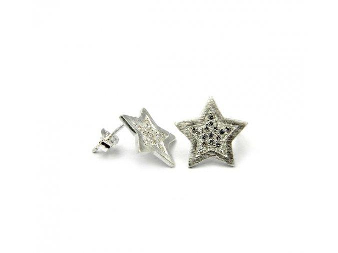 Strieborné náušnice hviezdy