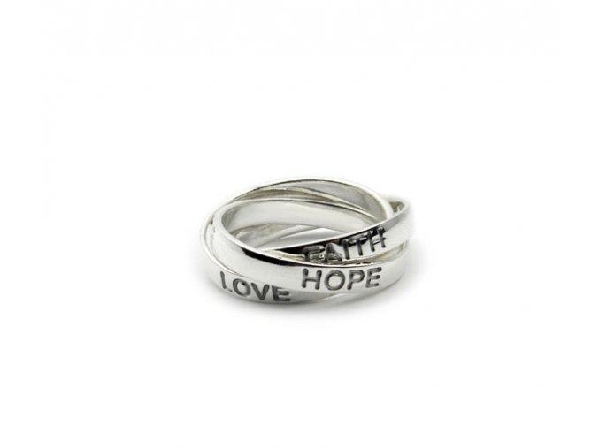 """Strieborný prsten 3v1 """"láska, viera, nádej"""""""