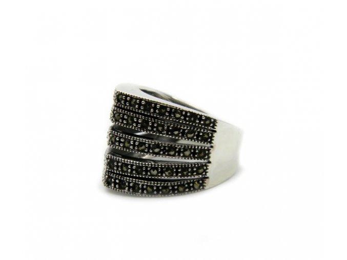 Strieborný markazitový prsten