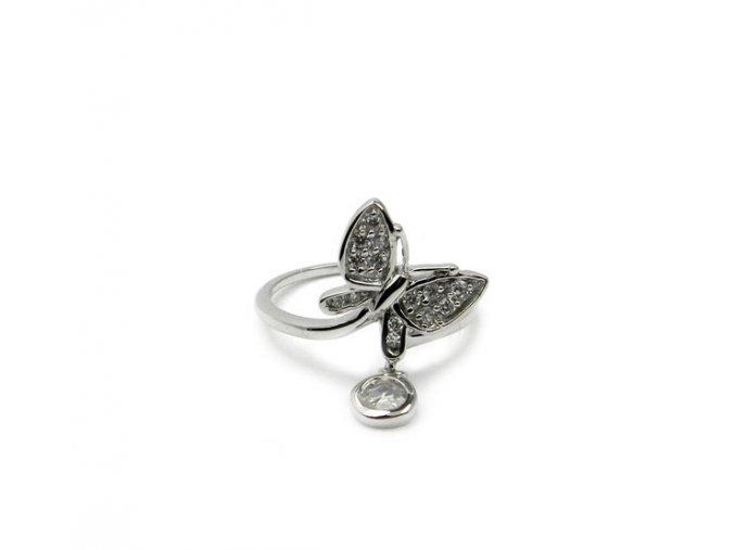 Ródiovaný strieborný prsten motýl