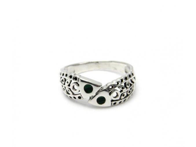 Strieborný malachitový prsten