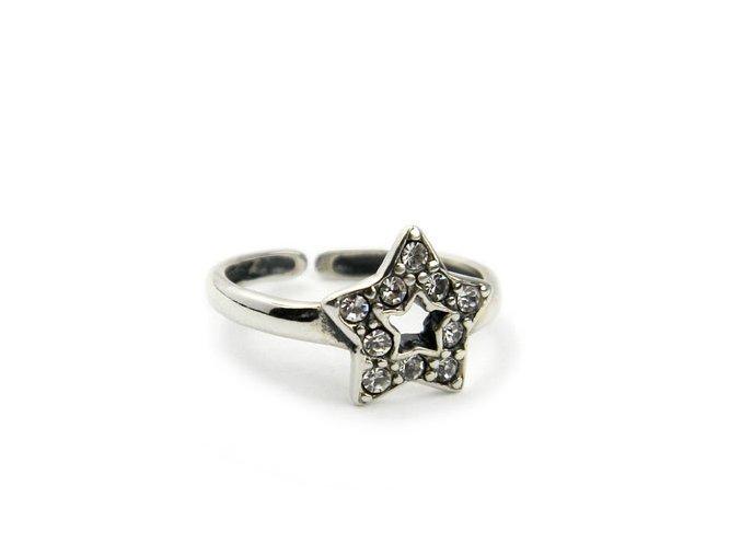 Strieborný prsten na nohu hviezdicka
