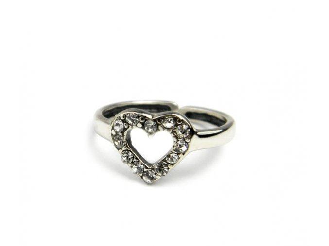 Strieborný prsten na nohu srdiecko