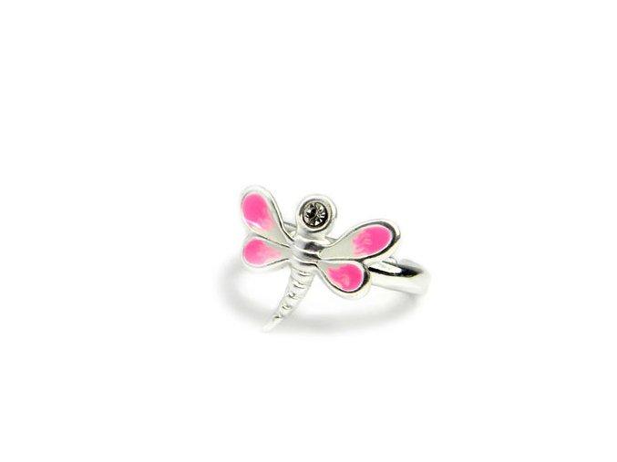Detský strieborný nastavitelný prsten vážka