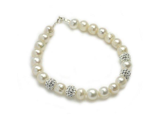 Strieborný perlový náramok