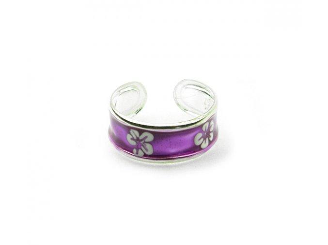 Strieborný prsteň na nohu kvet fialový