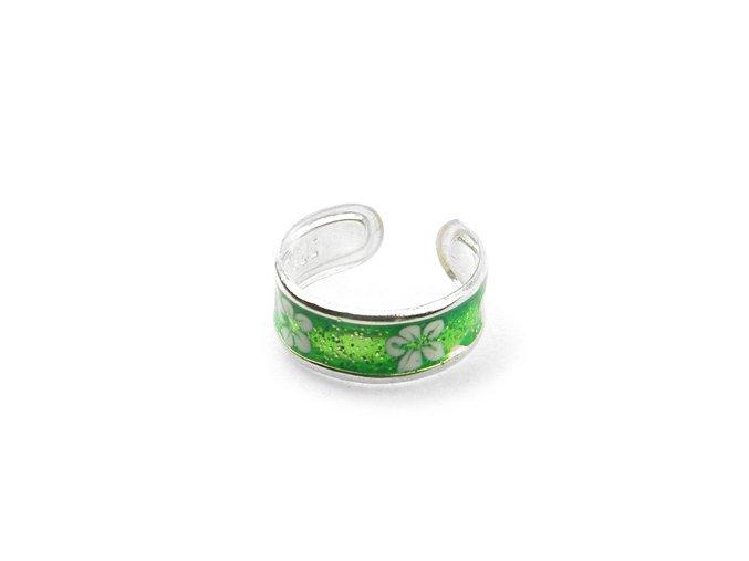 Strieborný prsten na nohu kvet zelený
