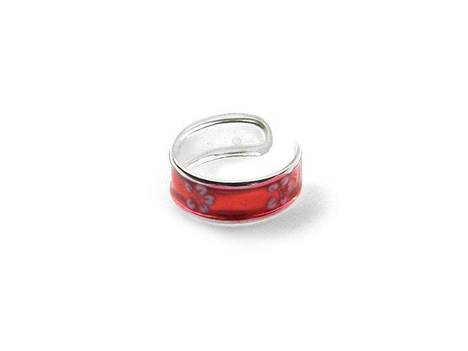 Strieborný prsteň na nohu kvet červený