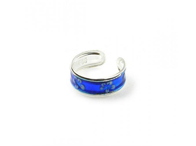 Strieborný prsten na nohu kvet modrý