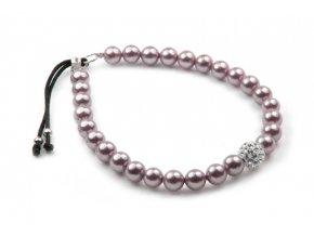 Strieborný perlový náramok burgundy