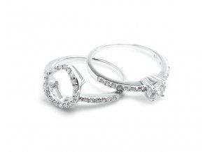 Zásnubný strieborný prsten 2v1