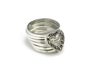 Prsten strieborný srdce