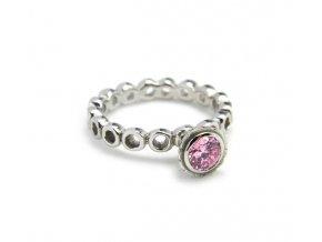 Prsten strieborný ružový