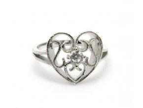 Prsten strieborný srdiecko