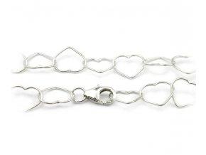 Nevšedná strieborná retiazka/náhrdelník srdiečka