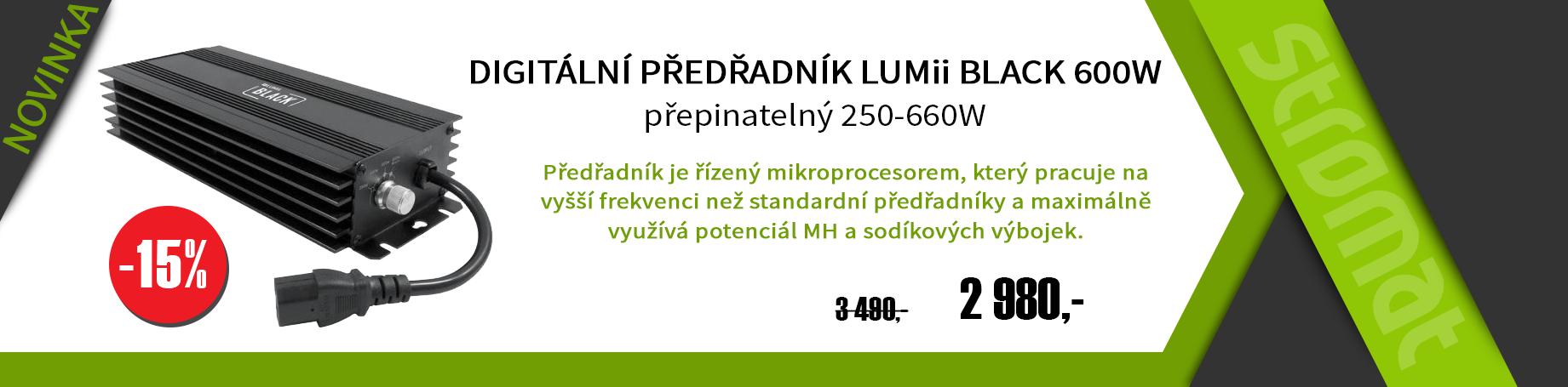 Eletronický přepínatelný předřadník Lumii Black 600W maximálně podporuje světelný tok.
