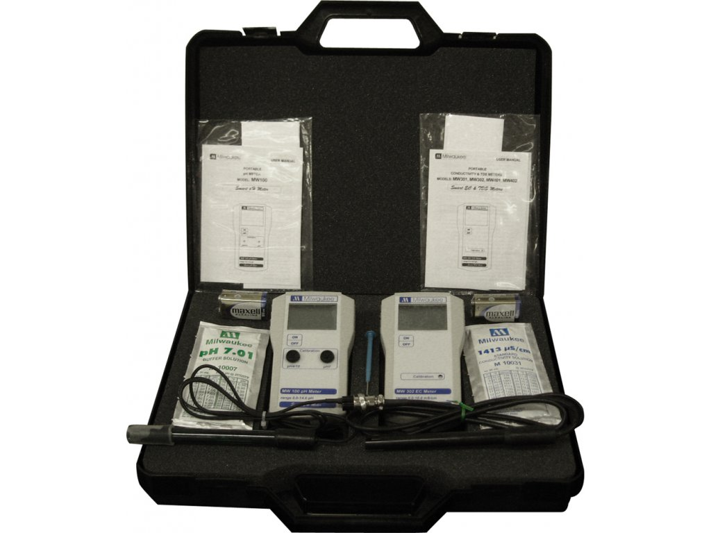 pH a EC monitory v kufříku Milwaukee MW100 a MW302