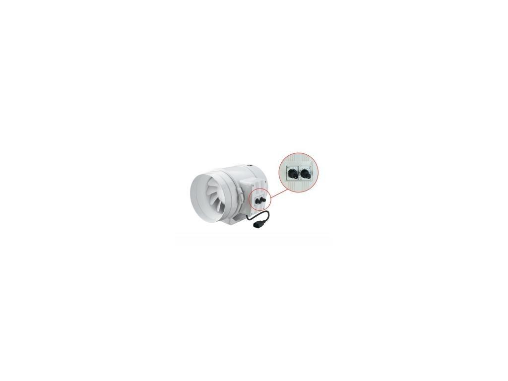 Ventilátor TTU 125mm, 280m3/h, výkonný plast, vent.regul. tepla a otáček