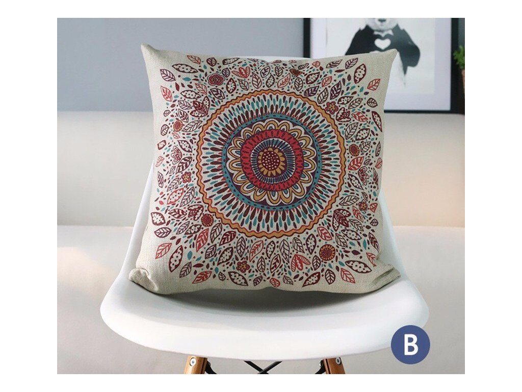 1 RECOLOUR fashion ethnic geometric throw pillow case modern style home decorative cotton linen cushion cover 45