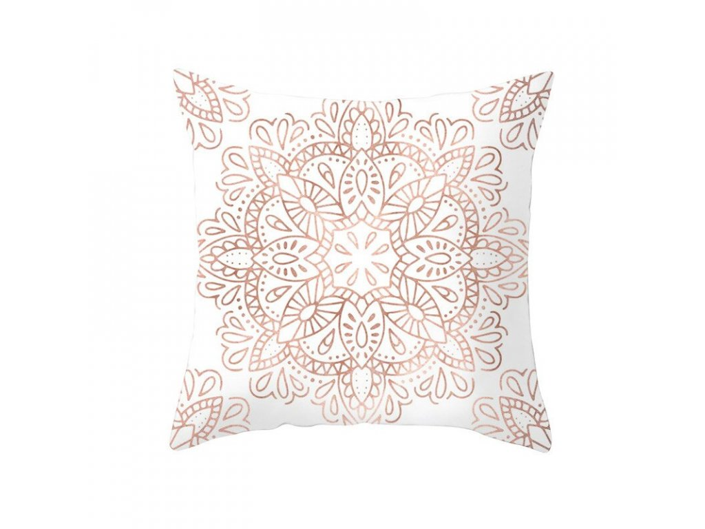 18 Fuwatacchi Rose Gold Geometric Cushion Cover Flower Decorative Pillows Cover for Home Sofa Bed Polyester Throw