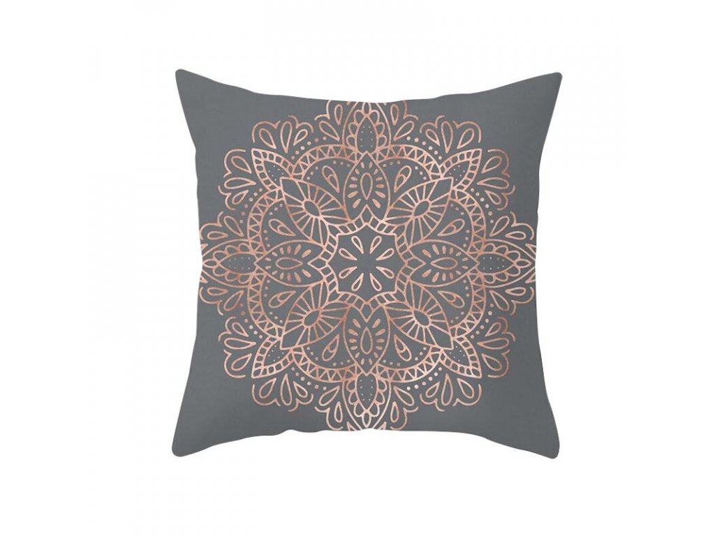 19 Fuwatacchi Rose Gold Geometric Cushion Cover Flower Decorative Pillows Cover for Home Sofa Bed Polyester Throw