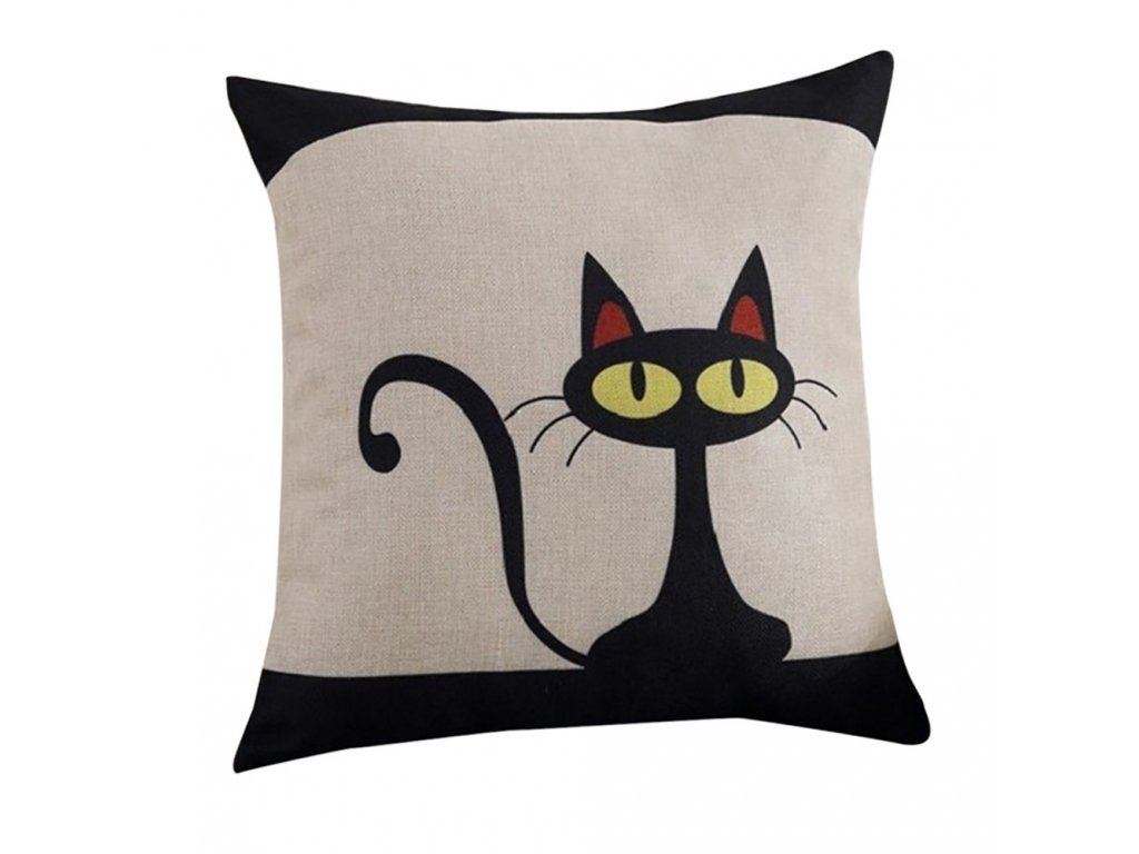 1 Pillow Case Geometric Cartoon Fashion Cotton Linen Pillowcase Cute Black Cat Pillow Covers Home Decorative Pillowcases