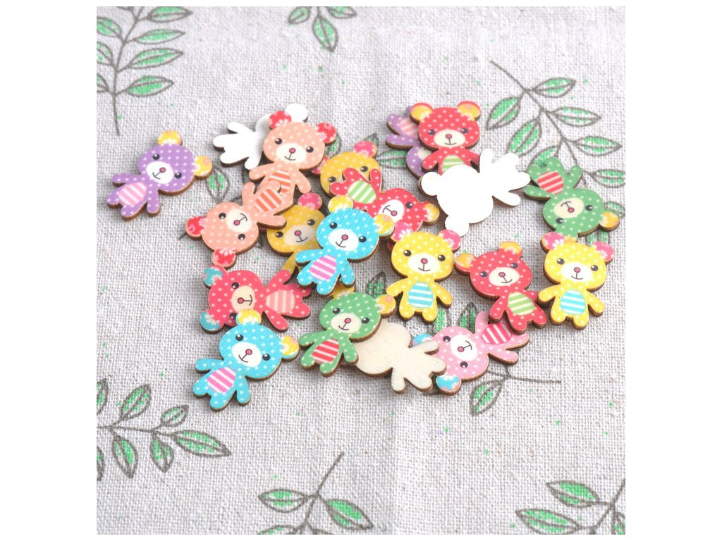 No Holes Mixed Bear Natural Wooden buttons For Sewing Scrapbooking Crafts 50pcs 17x24mm MT0040X 43