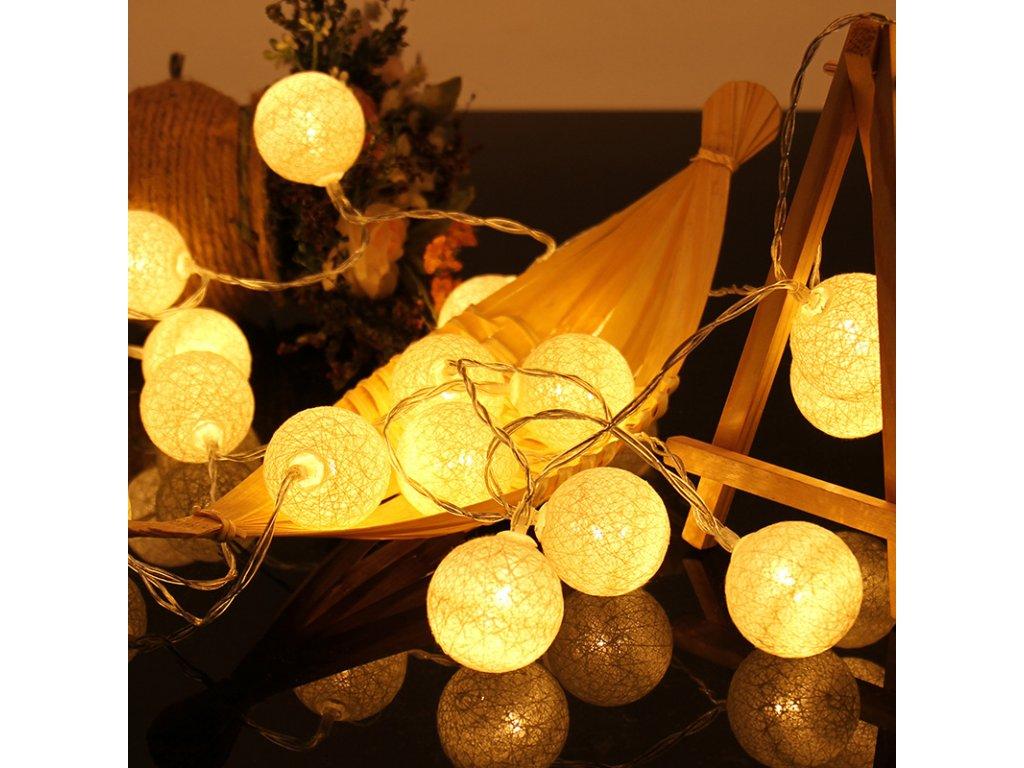 LED retez bavlnene koule