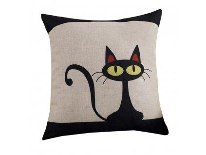 1 Pillow Case Geometric Cartoon Fashion Cotton Linen Pillowcase Cute Black Cat Pillow Covers Home Decorative Pillowcases