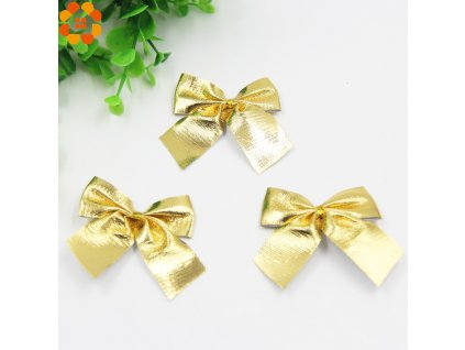 New Year 12PCS Gold and Silver Christmas Tree Ornaments Bow For Christmas Gift Decoration Supplies 50