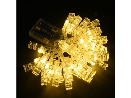 LED retez z klamerek 2m tepla bila