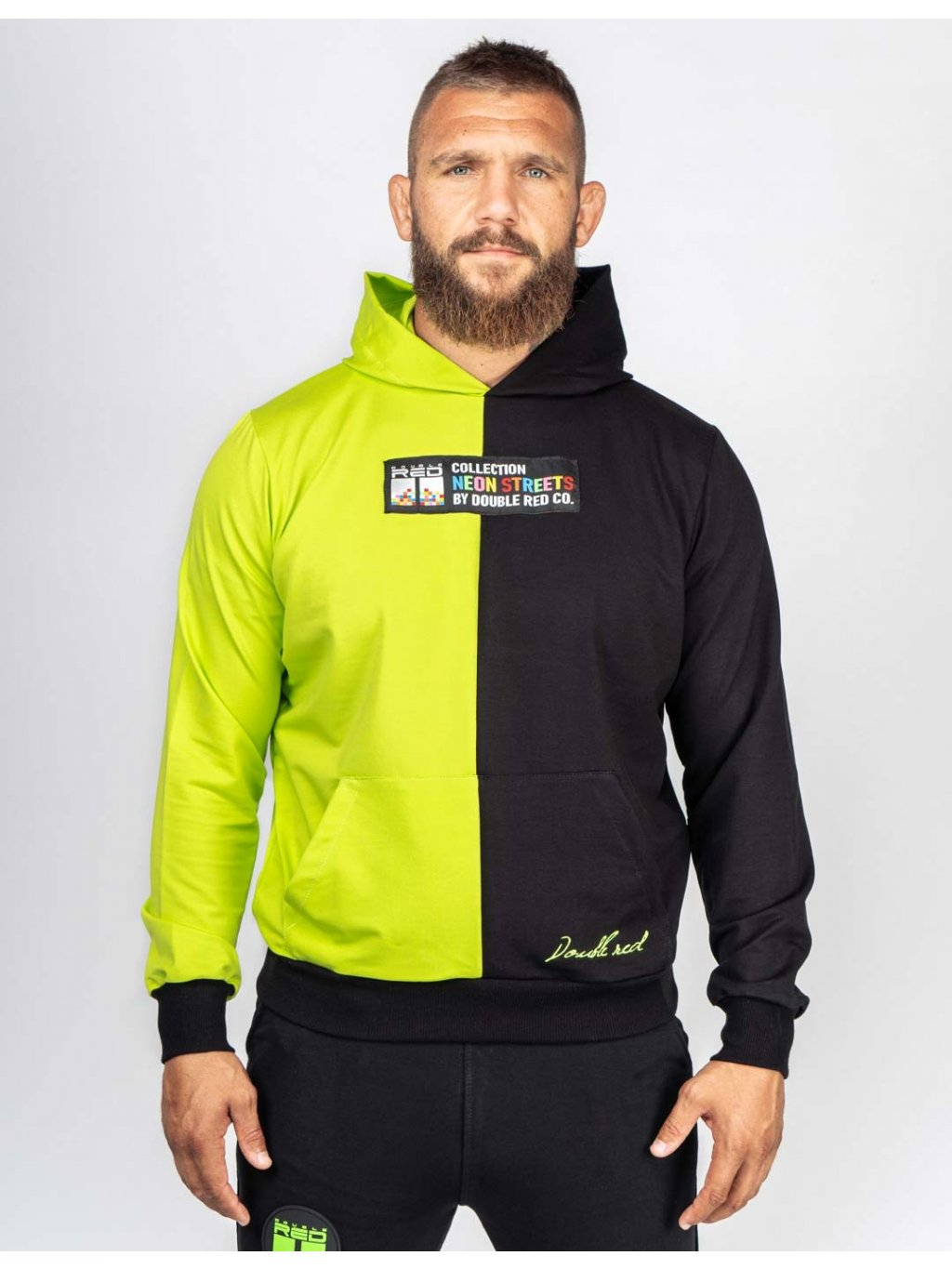Pánská Mikina DOUBLE RED Hoodie DOUBLE FACE NEON Streets Collection Green/Black