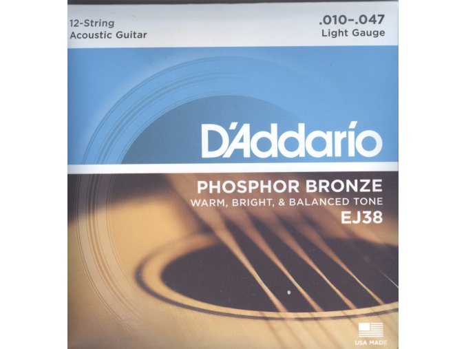 D'Addario EJ38 – 12-String Phosphor Bronze, Light, 10-47