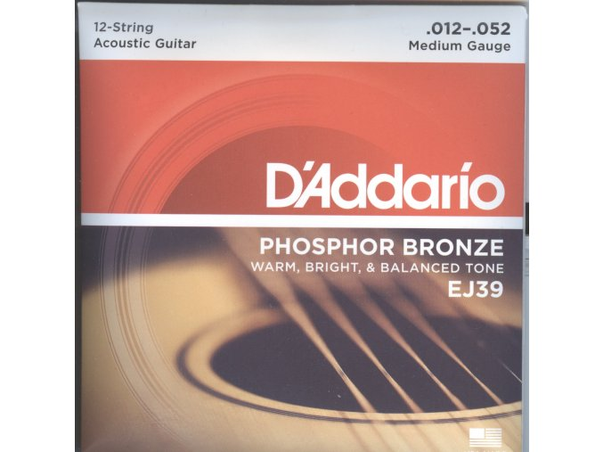 D'Addario EJ39 12-String Phosphor Bronze, Medium, 12-52