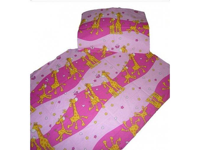 Bavlněné povlečení Žirafa růžová