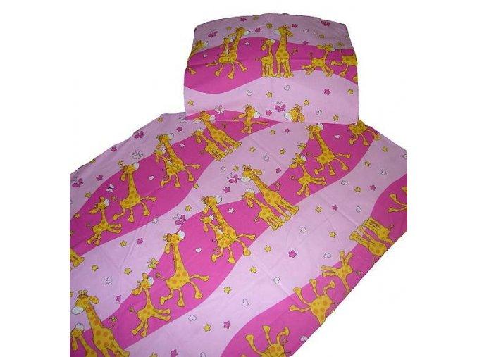 Povlečení bavlna do postýlky  Žirafa růžová