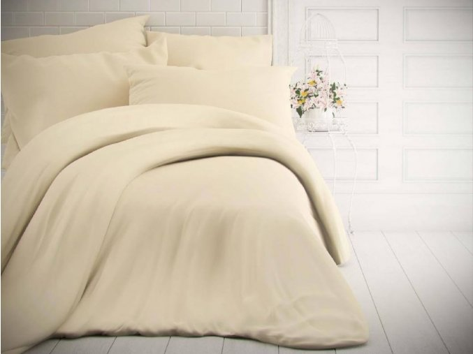 jednobarevne bavlnene povleceni 140x200 70x90cm smetanove 0