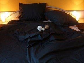 Kvalitní jednobarevné černé bavlněné povlečení