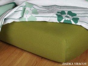 Jersey prostěradlo olivové