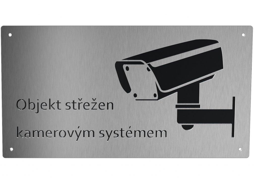 Informační cedule - objekt střežen kamerovým systémem s černým podkladem