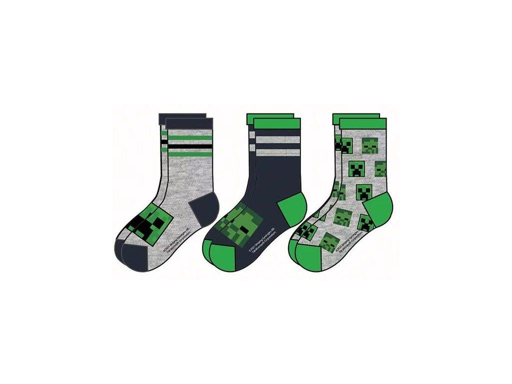 Minecraft ponožky Creeper a Zombie šedé dětské