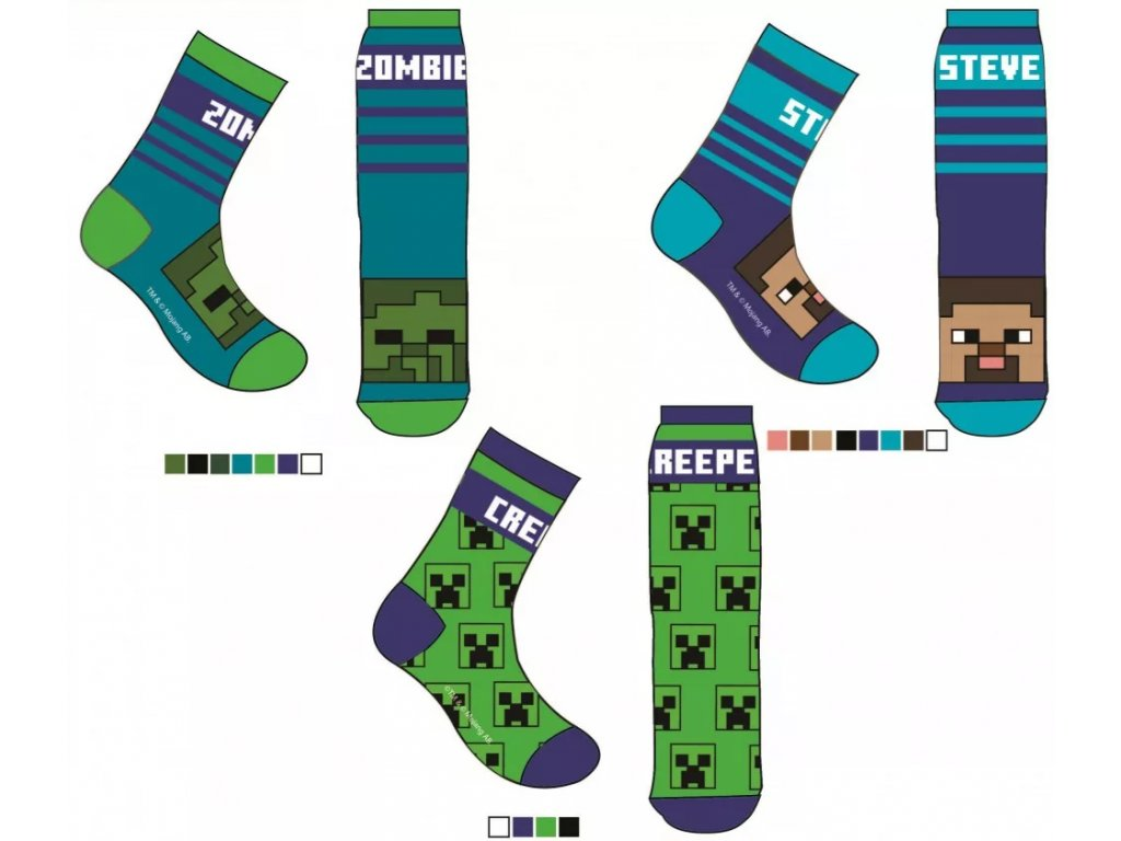 Minecraft ponožky Creeper Zombie Steve