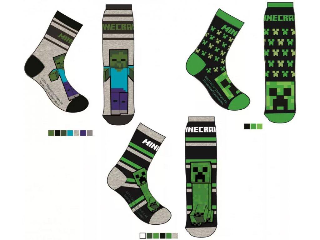 Minecraft ponožky Creeper a Zombie šedé a černé dětské