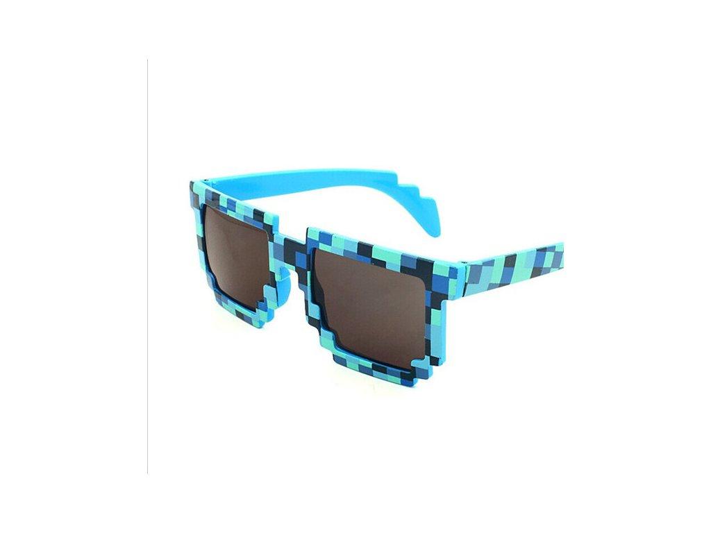 Kostkové sluneční brýle modré