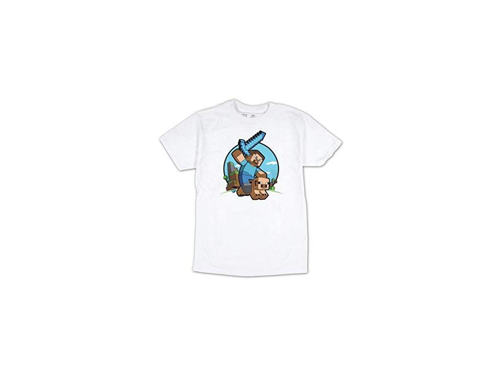 Minecraft tričko Pig riding bílé