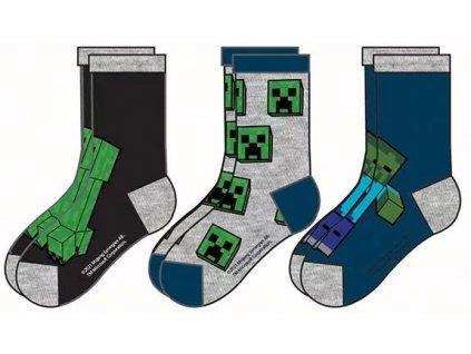 Minecraft ponožky Creeper a Zombie modré dětské