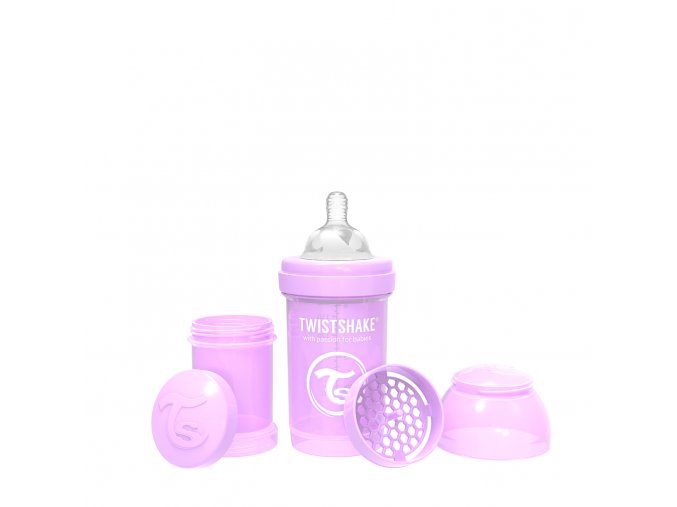361 kojenecka lahev anti colic 180ml pastelove fialova