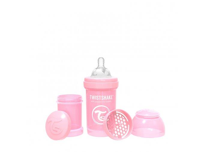 352 kojenecka lahev anti colic 180ml pastelove ruzova