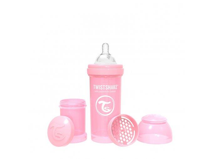 373 kojenecka lahev anti colic 260ml pastelove ruzova