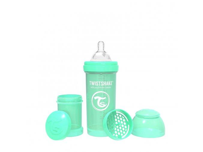 379 kojenecka lahev anti colic 260ml pastelove zelena